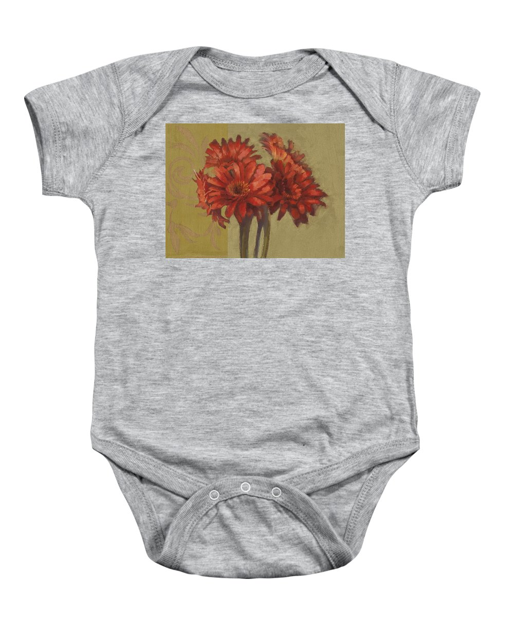 Floral Baby Onesie featuring the painting Ornamental Gerbers by Cathy Locke