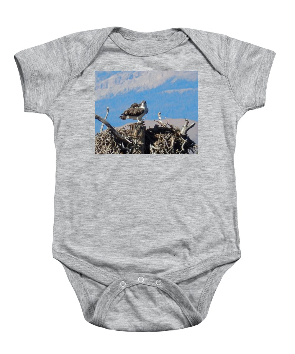 Osprey Baby Onesie featuring the photograph Osprey And Catch by Heather Coen