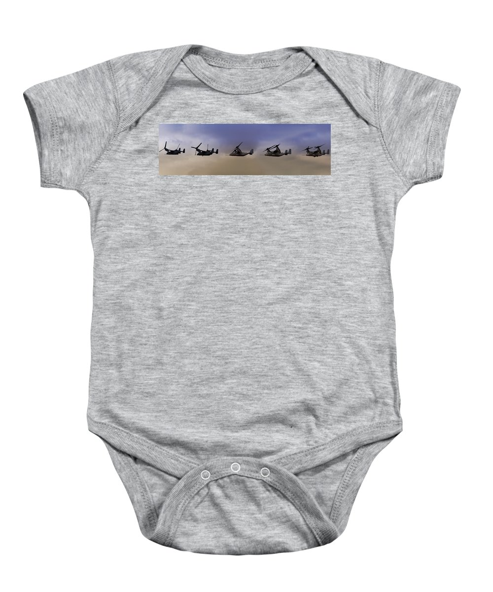 V22 Baby Onesie featuring the photograph Osprey Transformation by Ricky Barnard