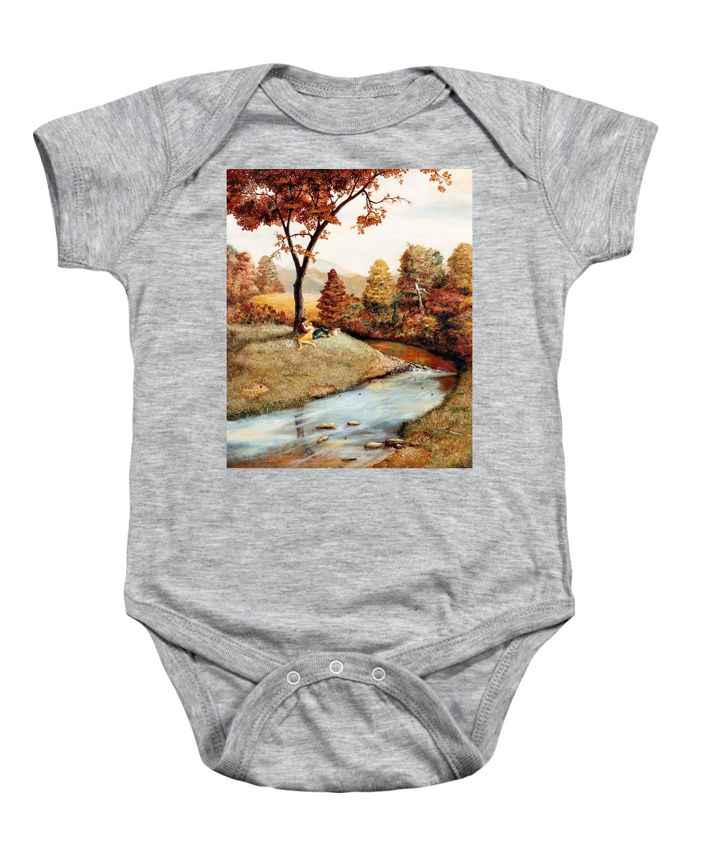Rural Baby Onesie featuring the painting Our Secret Place by Duane R Probus