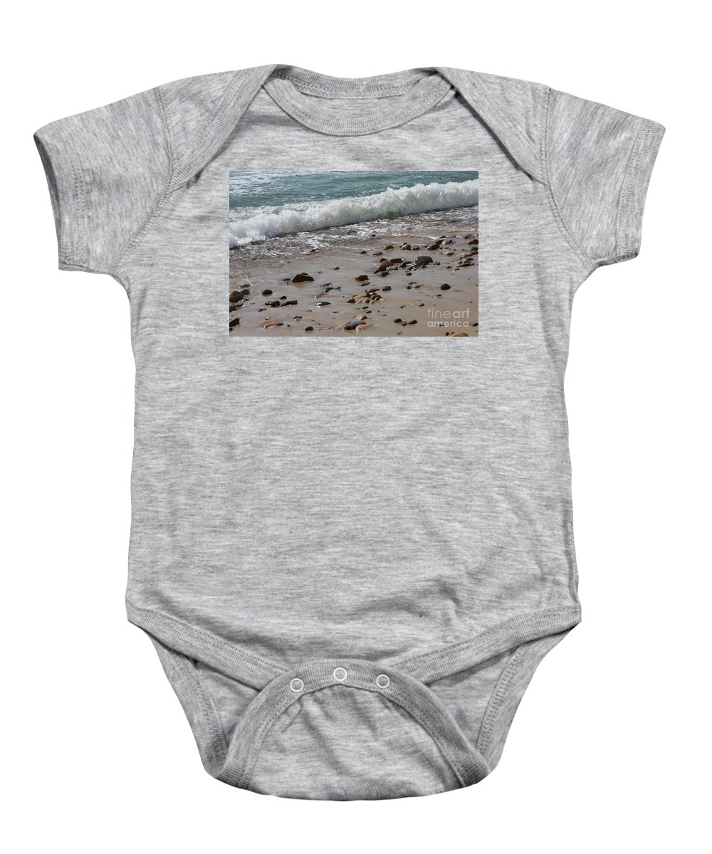 Martha's Vineyard Baby Onesie featuring the photograph Outgoing Tide by Carol Groenen