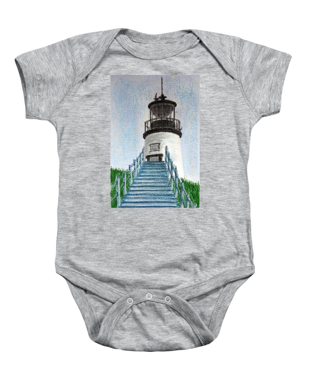 Lighthouse Baby Onesie featuring the painting Owls Head Up To The Light by Brenda Stevens Fanning