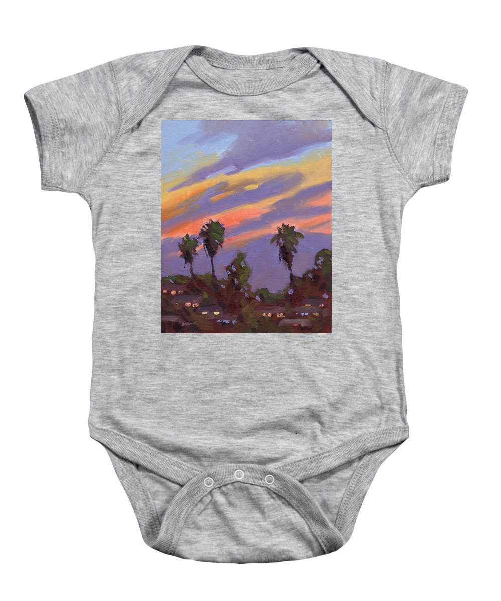 Sunset Baby Onesie featuring the painting Pacific Sunset 1 by Konnie Kim
