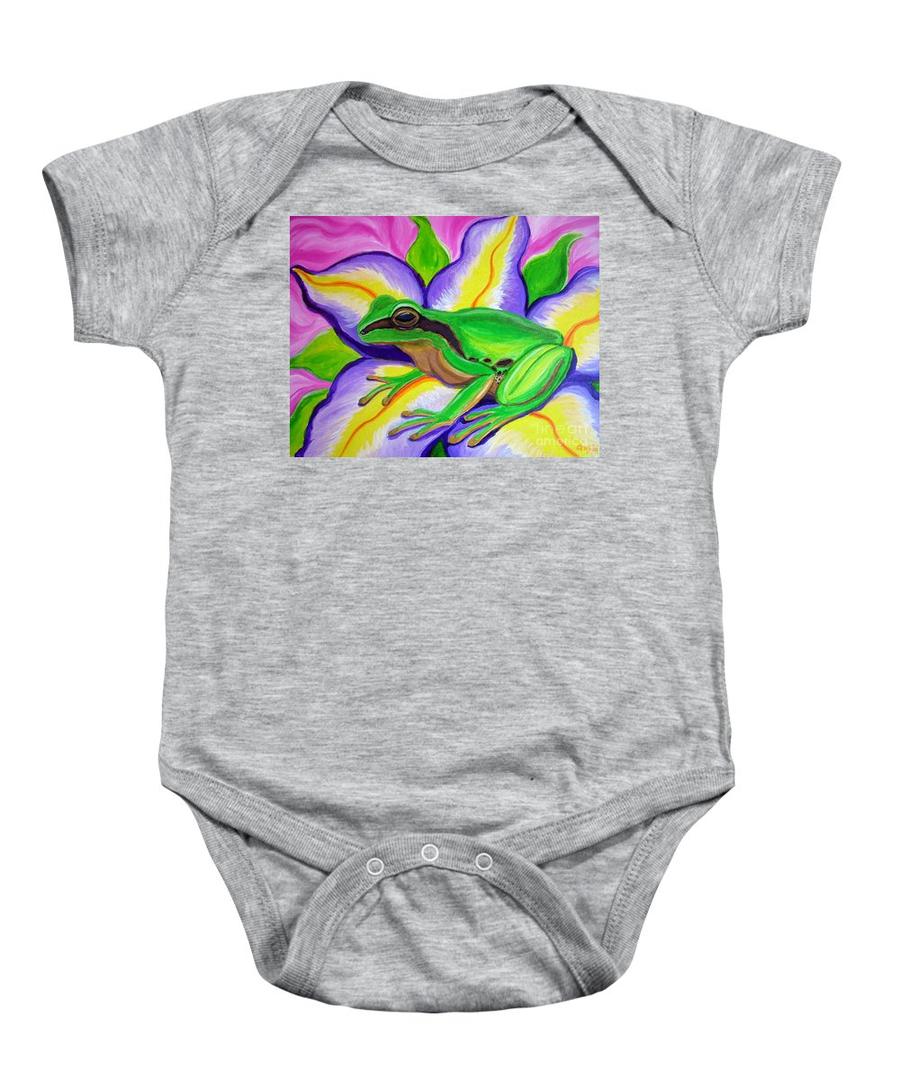 Pacific Tree Frog Baby Onesie featuring the painting Pacific Tree Frog And Flower by Nick Gustafson