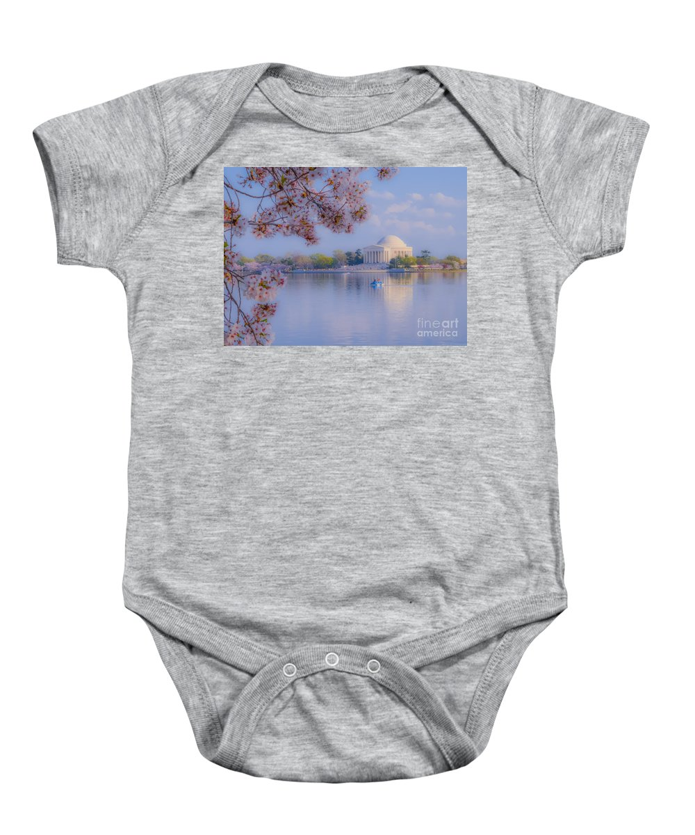 2012 Centennial Celebration Baby Onesie featuring the photograph Paddling Past The Blossoms On The Basin by Jeff at JSJ Photography
