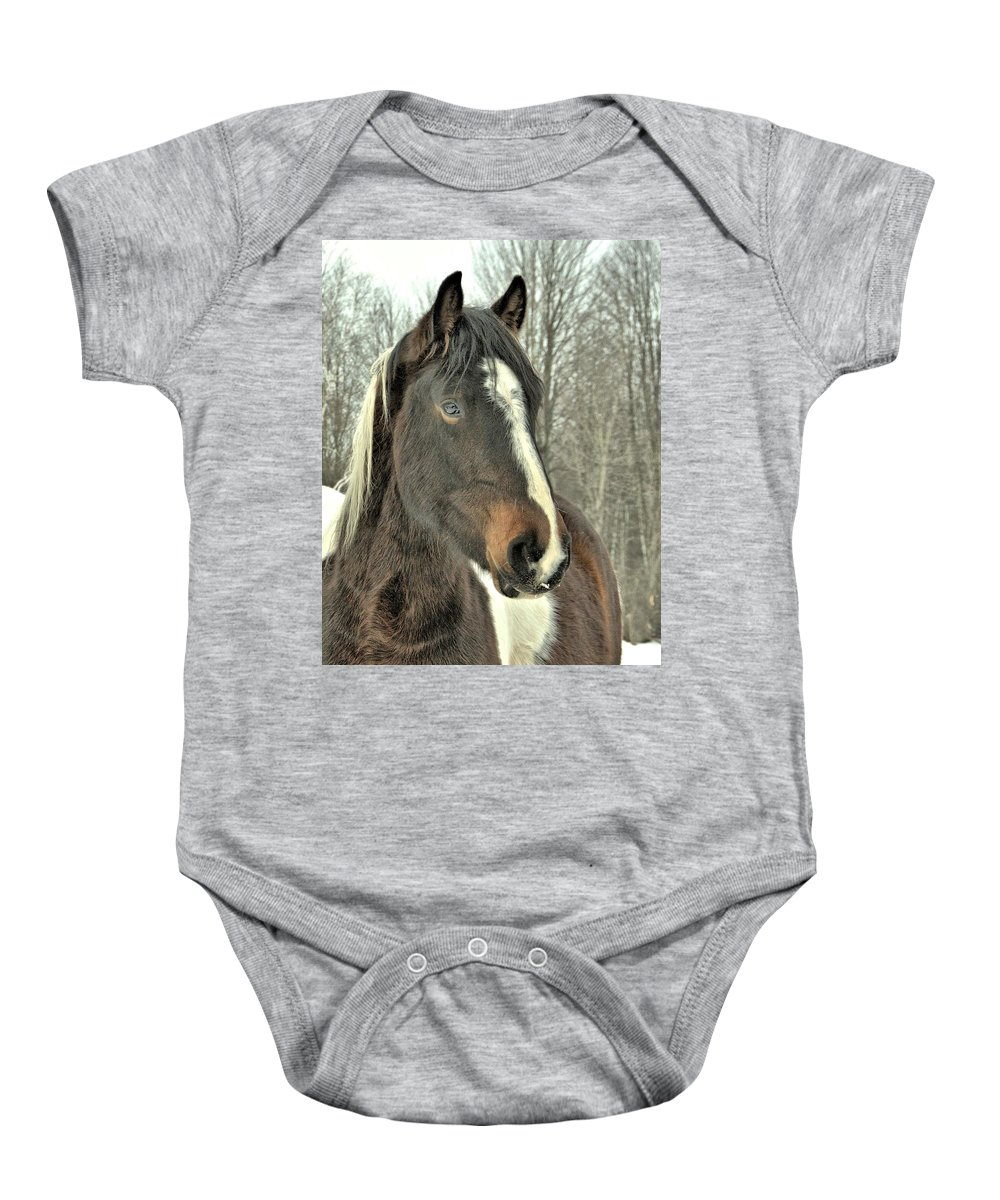 Horse Baby Onesie featuring the photograph Paint Horse In Winter by Valerie Kirkwood