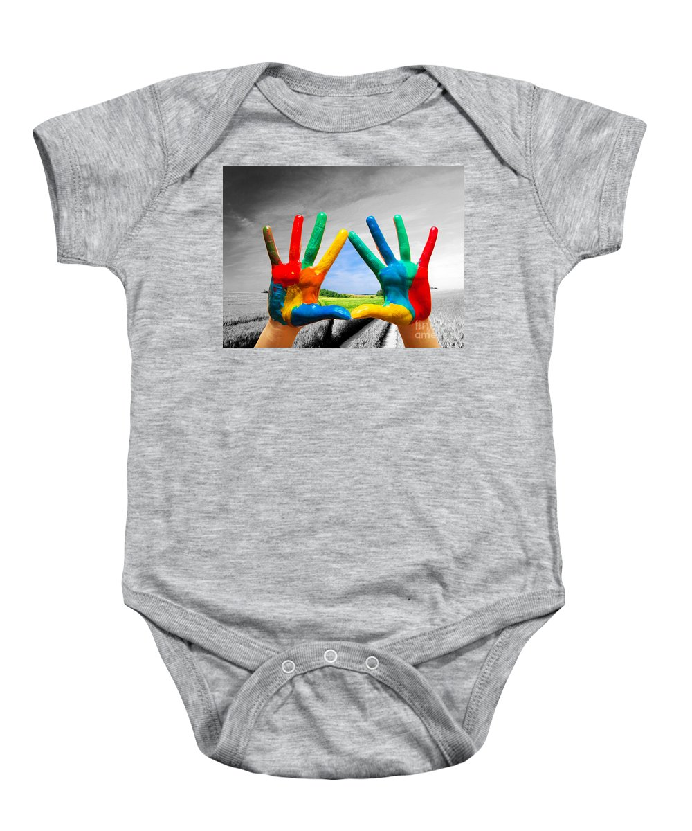 Hand Baby Onesie featuring the photograph Painted Colorful Hands Showing Way To Colorful Happy Life by Michal Bednarek