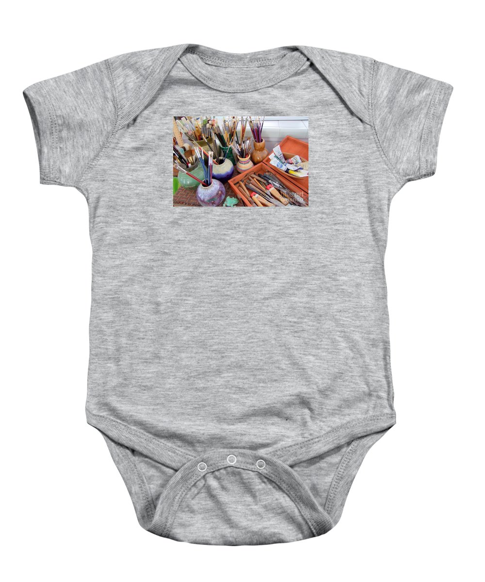 Painting Baby Onesie featuring the photograph Painting Work Table by Mary Deal