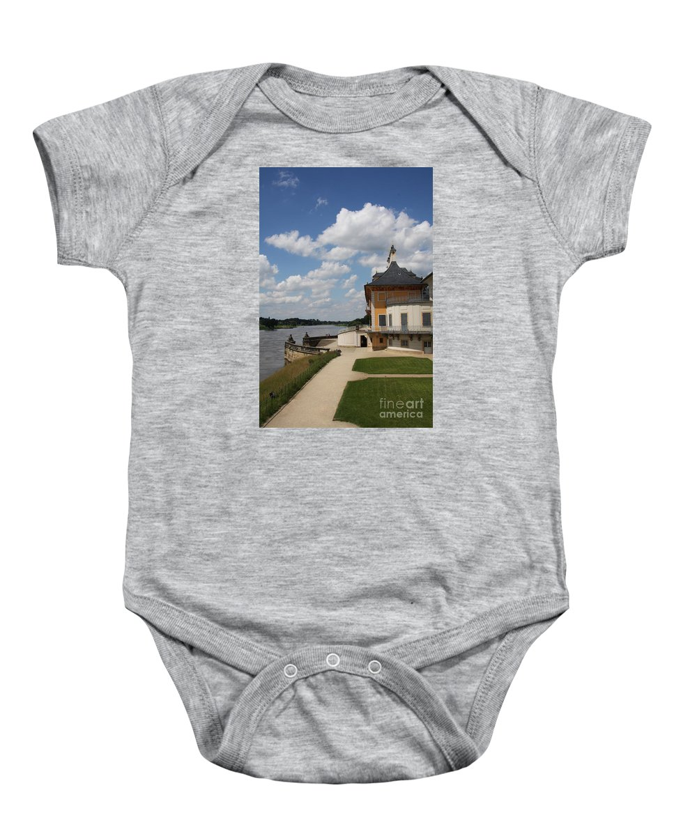 Palace Baby Onesie featuring the photograph Palace Pillnitz And River Elbe by Christiane Schulze Art And Photography