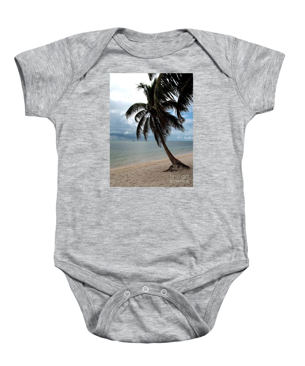 Beach Baby Onesie featuring the photograph Palm On The Beach by Christiane Schulze Art And Photography