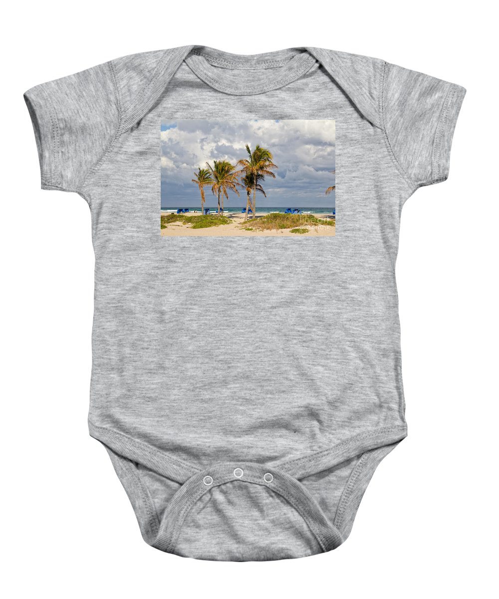 Palm Baby Onesie featuring the photograph Palm Trees At The Beach by Les Palenik