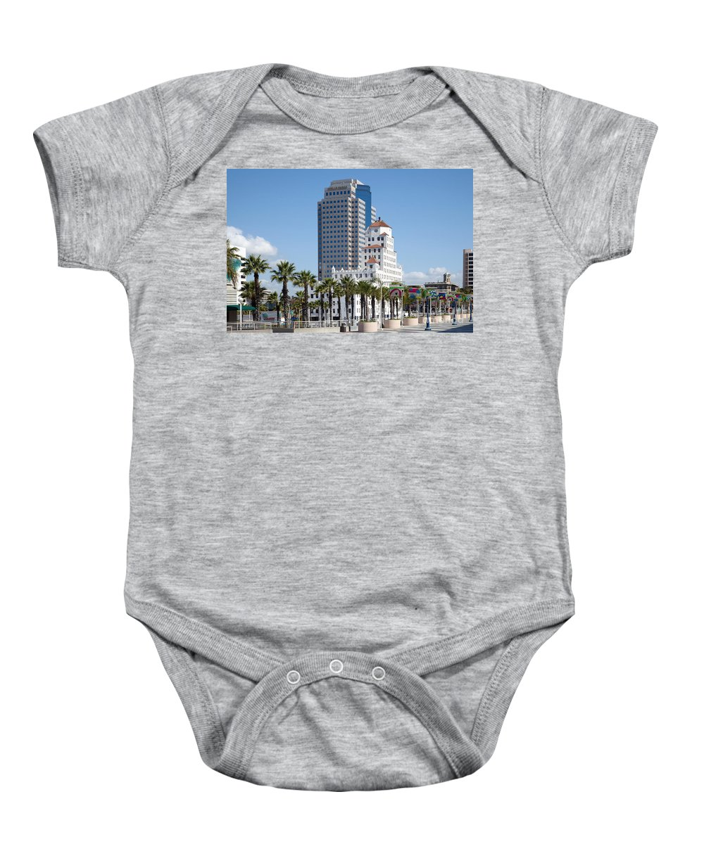 Long Beach Baby Onesie featuring the photograph Palm Trees In Downtown Long Beach by Bill Cobb