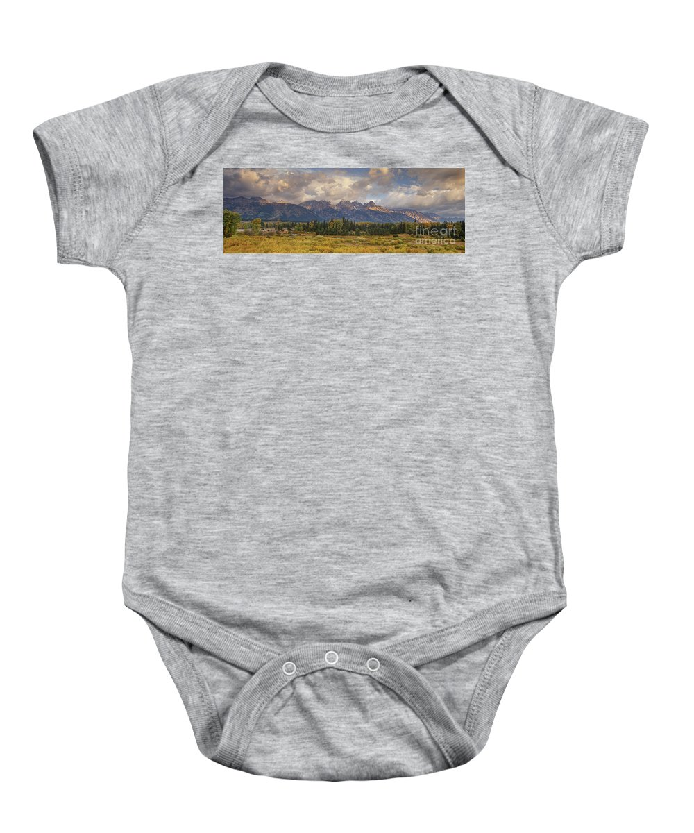 North America Baby Onesie featuring the photograph Panaroma Clearing Storm On A Fall Morning In Grand Tetons National Park by Dave Welling