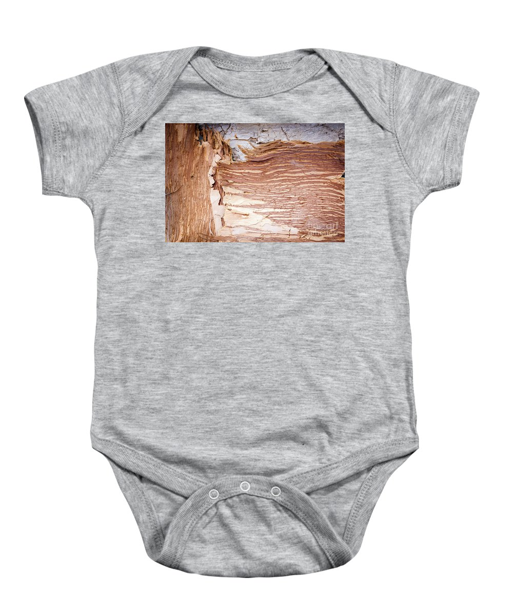 Bark Baby Onesie featuring the photograph Paper Bark Background by Tim Hester