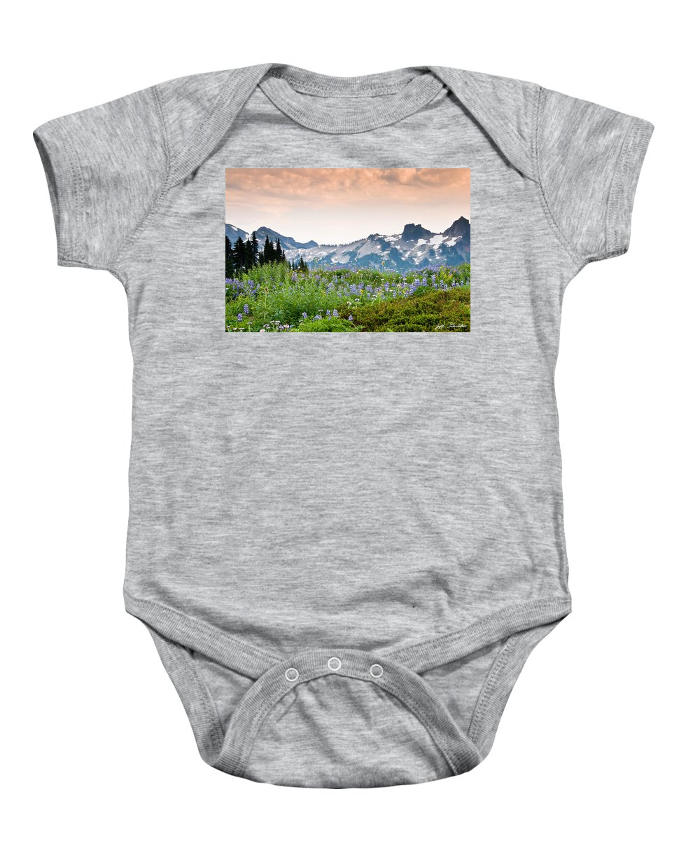 Alpine Baby Onesie featuring the photograph Paradise Meadows And The Tatoosh Range by Jeff Goulden