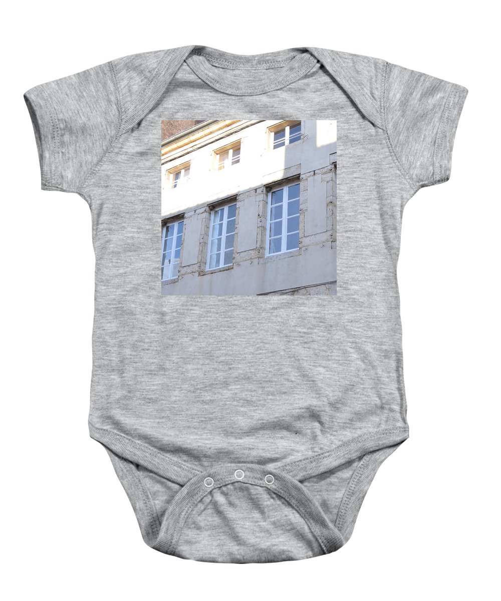 Paray Le - Monial Baby Onesie featuring the photograph Windows In Shade by Cheryl Miller