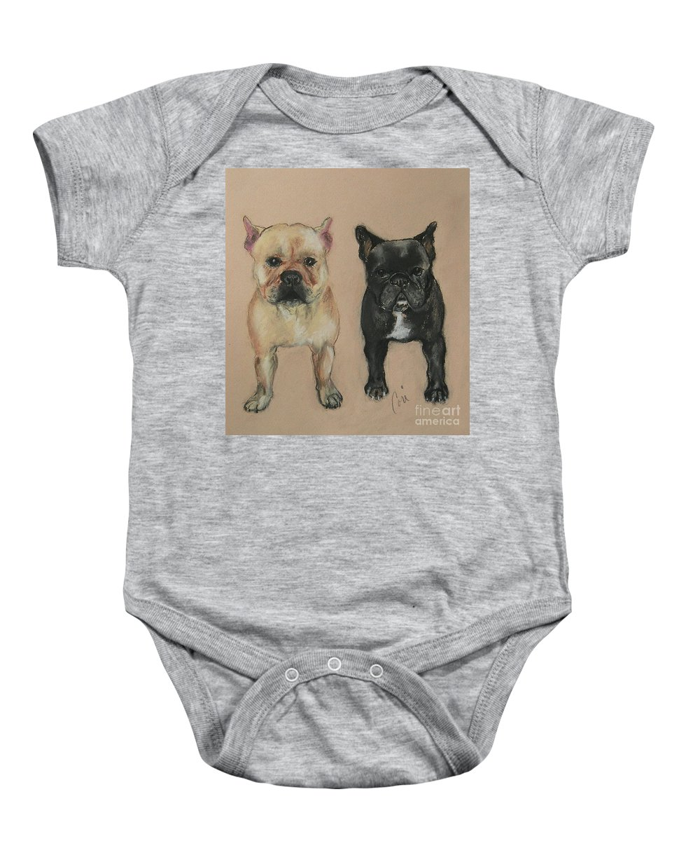 French Bulldog Baby Onesie featuring the pastel Pardon My French by Cori Solomon