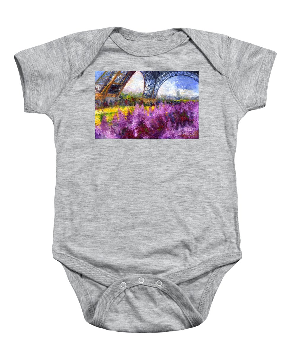Oil Baby Onesie featuring the painting Paris Tour Eiffel 01 by Yuriy Shevchuk