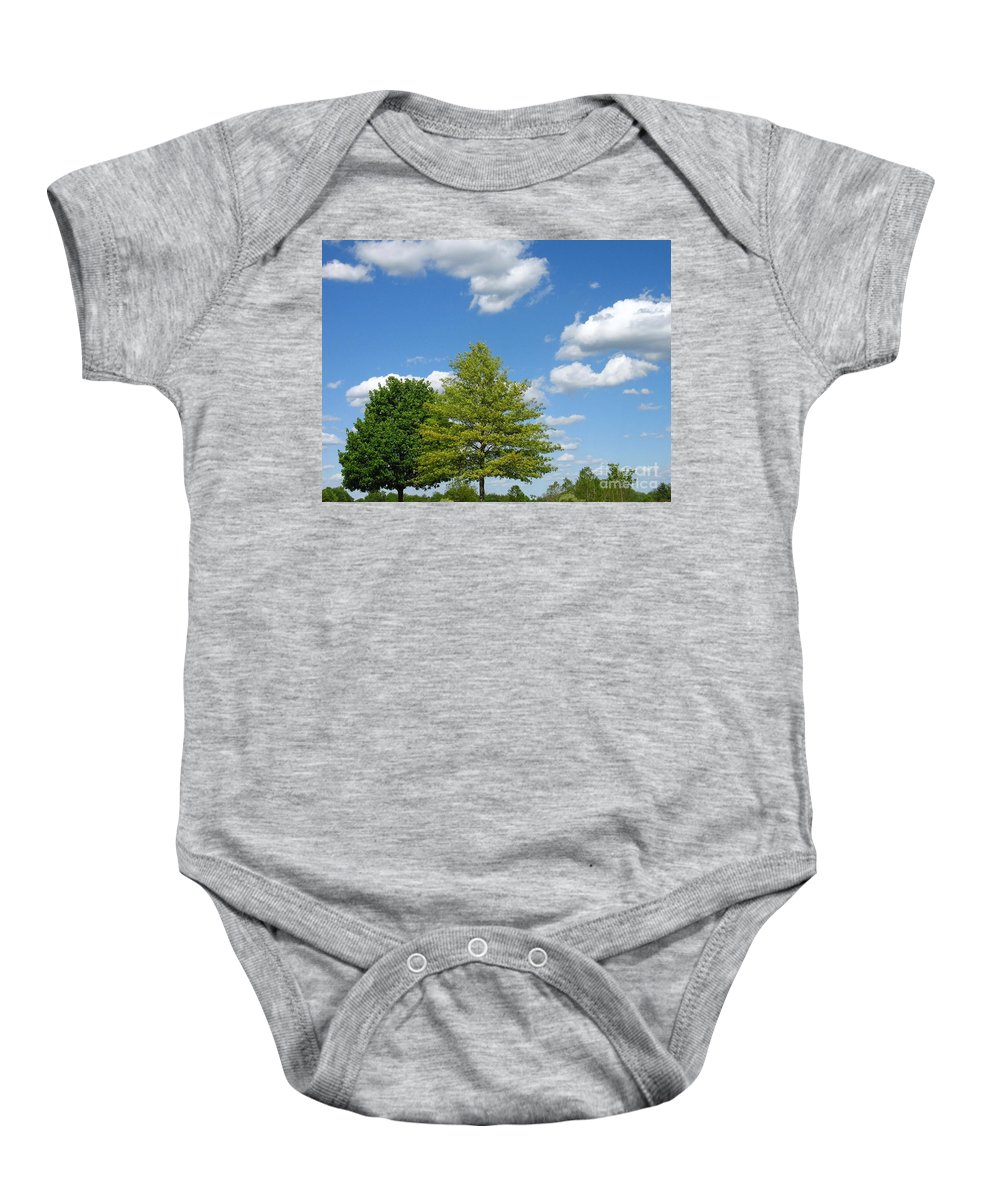 Sky Baby Onesie featuring the photograph Partly Cloudy Day by Ann Horn