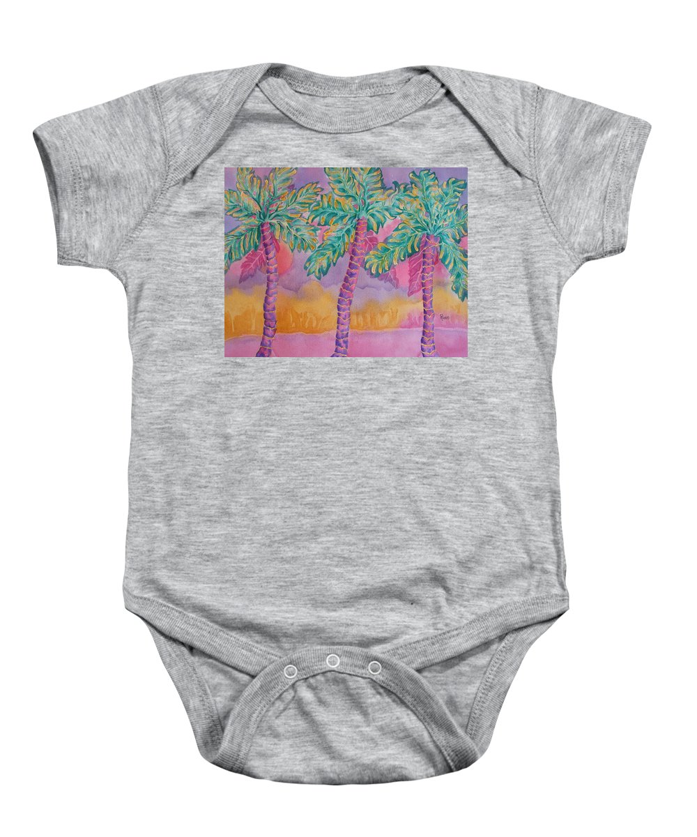 Palm Tree Baby Onesie featuring the painting Party Palms by Rhonda Leonard
