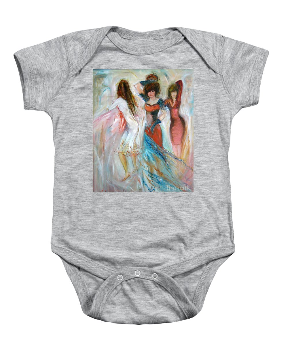 Contemporary Art Baby Onesie featuring the painting Party Time by Silvana Abel