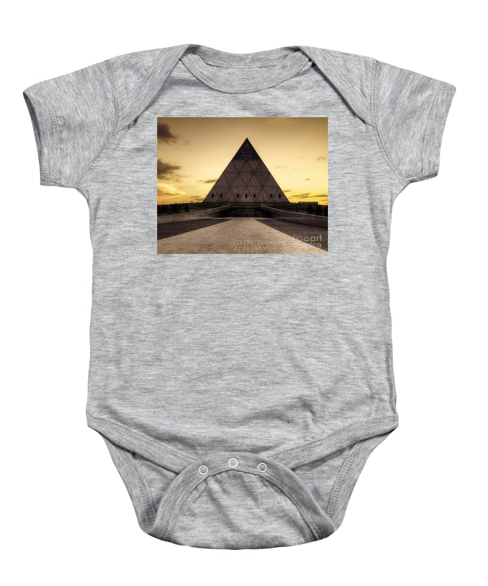 Pyramid Baby Onesie featuring the photograph Peace And Harmony by Emily Kay