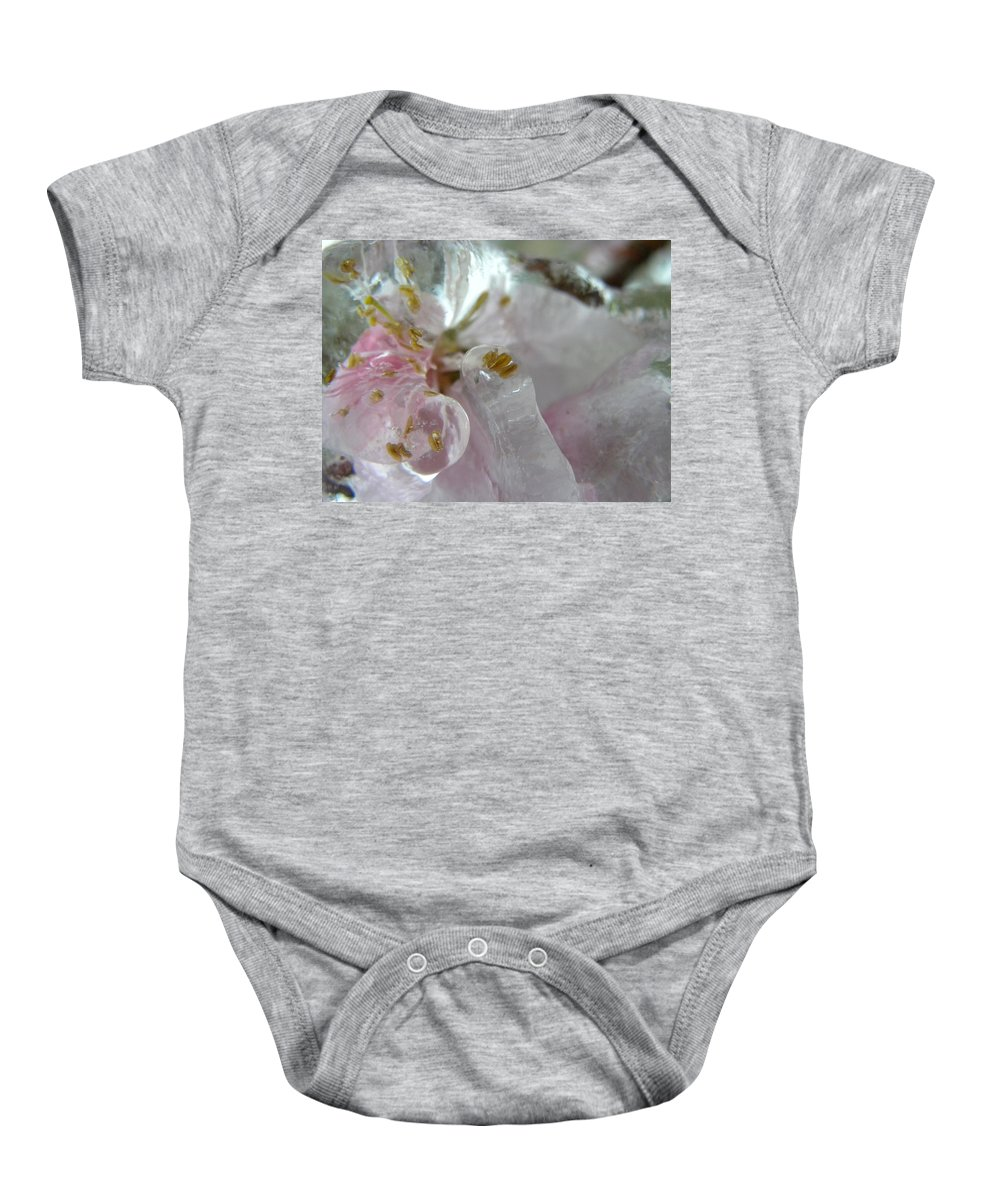 Peach Baby Onesie featuring the photograph Peach Blossom In Ice Three by Sheri Lauren
