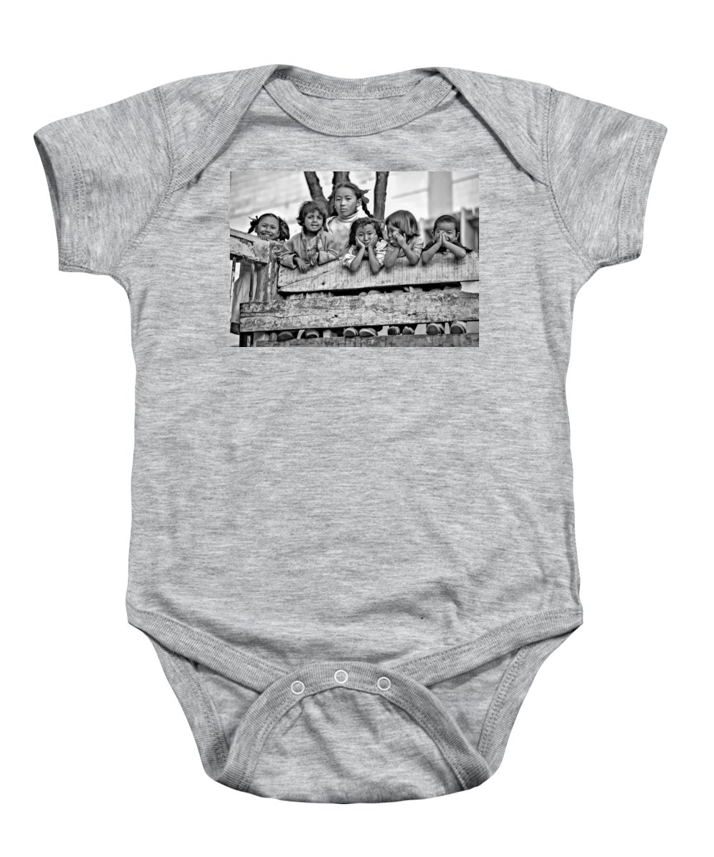 Kids Baby Onesie featuring the photograph Peanut Gallery Monochrome by Steve Harrington