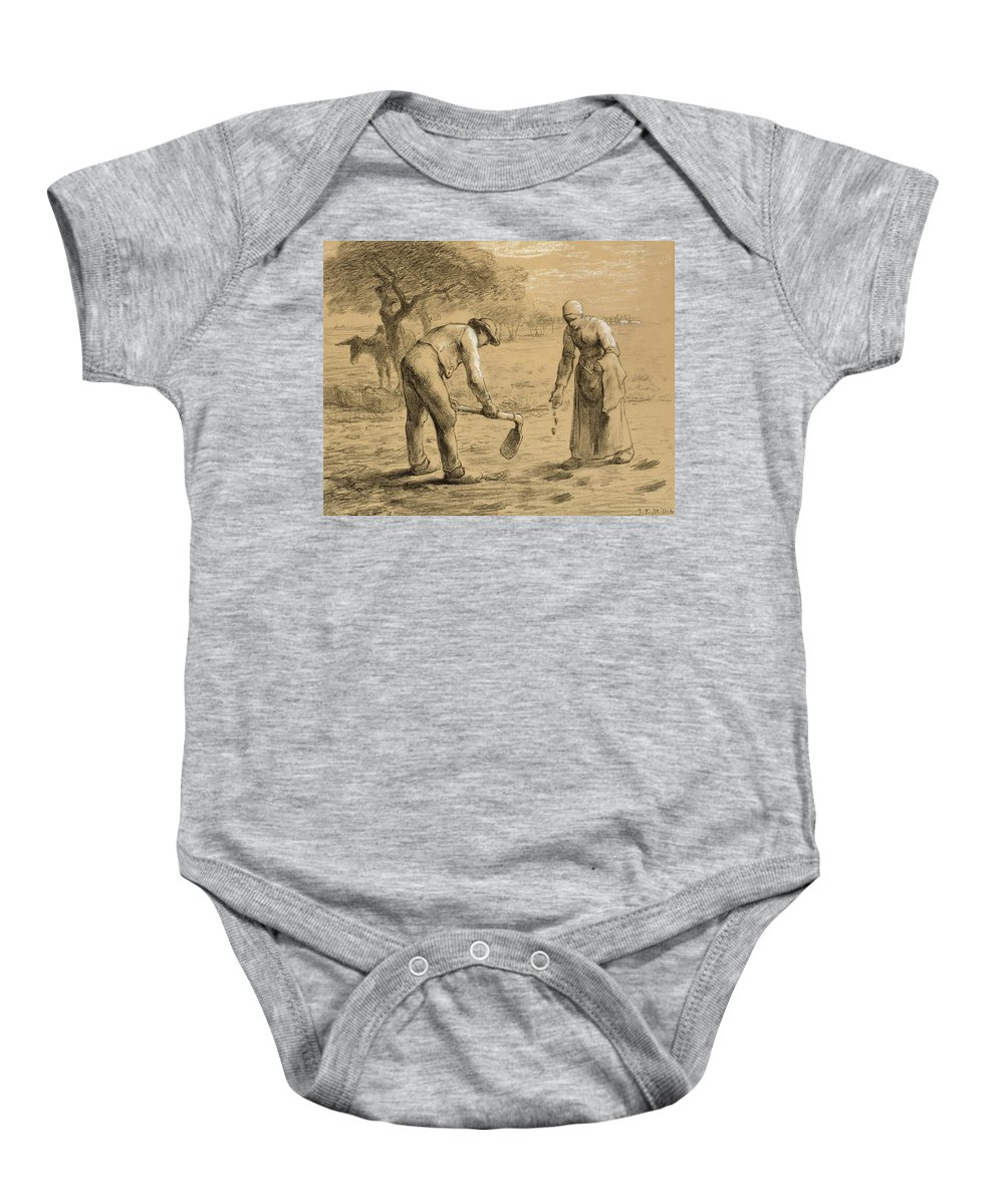 Potato; Worker; Labourer; Labourers; Workers; Peasant; Male; Female; Couple; Digging; Farming; Field; Apron; Hoe; Clogs; Social Realist; Donkey; Landscape; Agriculture; Daily Life Scene; Rural; Drawing Baby Onesie featuring the drawing Peasants Planting Potatoes by Jean-Francois Millet