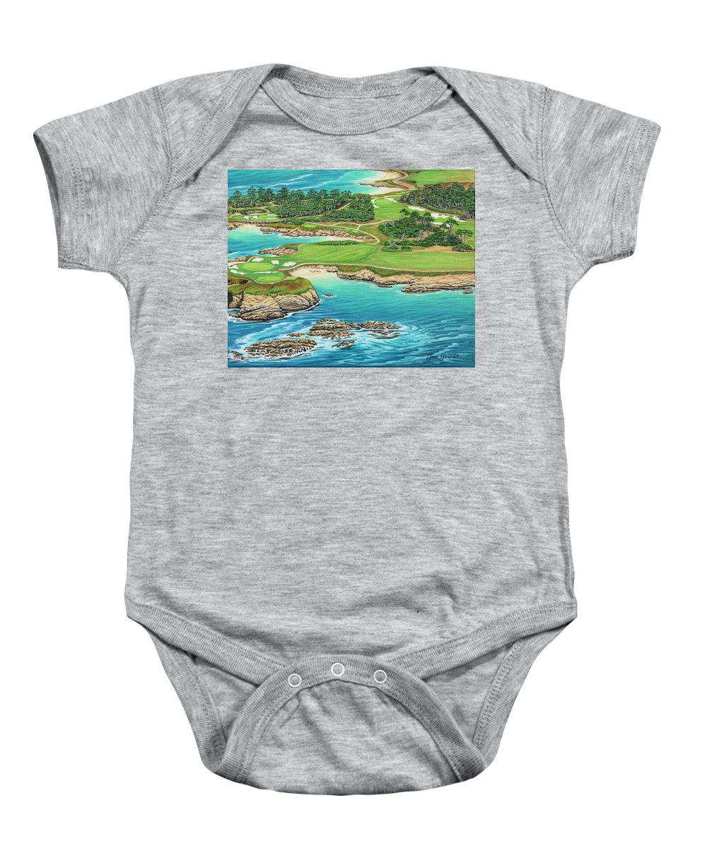 Ocean Baby Onesie featuring the painting Pebble Beach 15th Hole-south by Jane Girardot