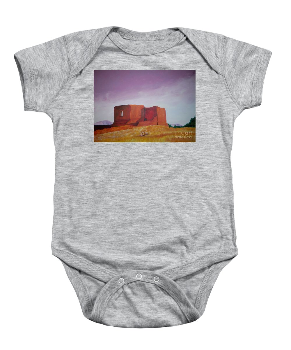 Western Baby Onesie featuring the painting Pecos Mission Landscape by Eric Schiabor