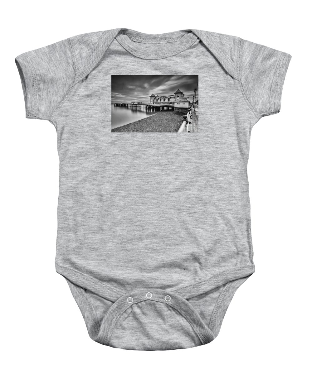 Penarth Pier Baby Onesie featuring the photograph Penarth Pier 1 Mono by Steve Purnell