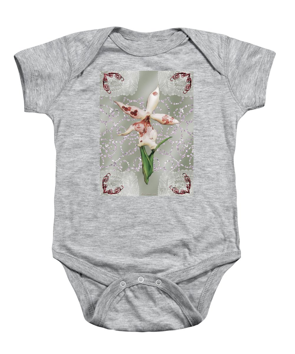 Orchid Baby Onesie featuring the painting Penny Postcard Exotica by RC DeWinter