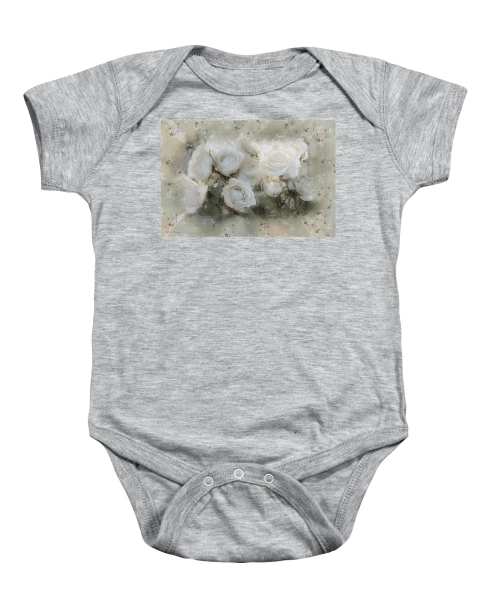 Roses Baby Onesie featuring the painting Penny Postcard Innocent by RC DeWinter