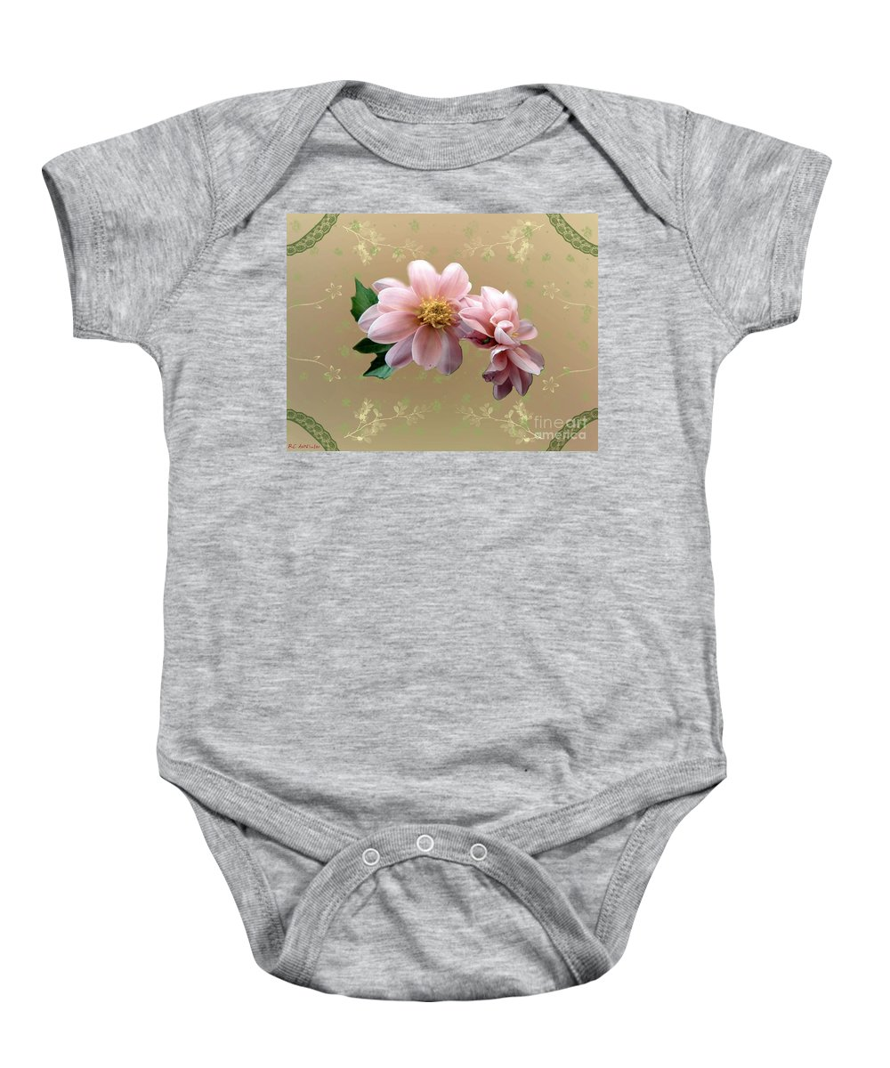 Delicate Baby Onesie featuring the painting Penny Postcard Pastorale by RC DeWinter
