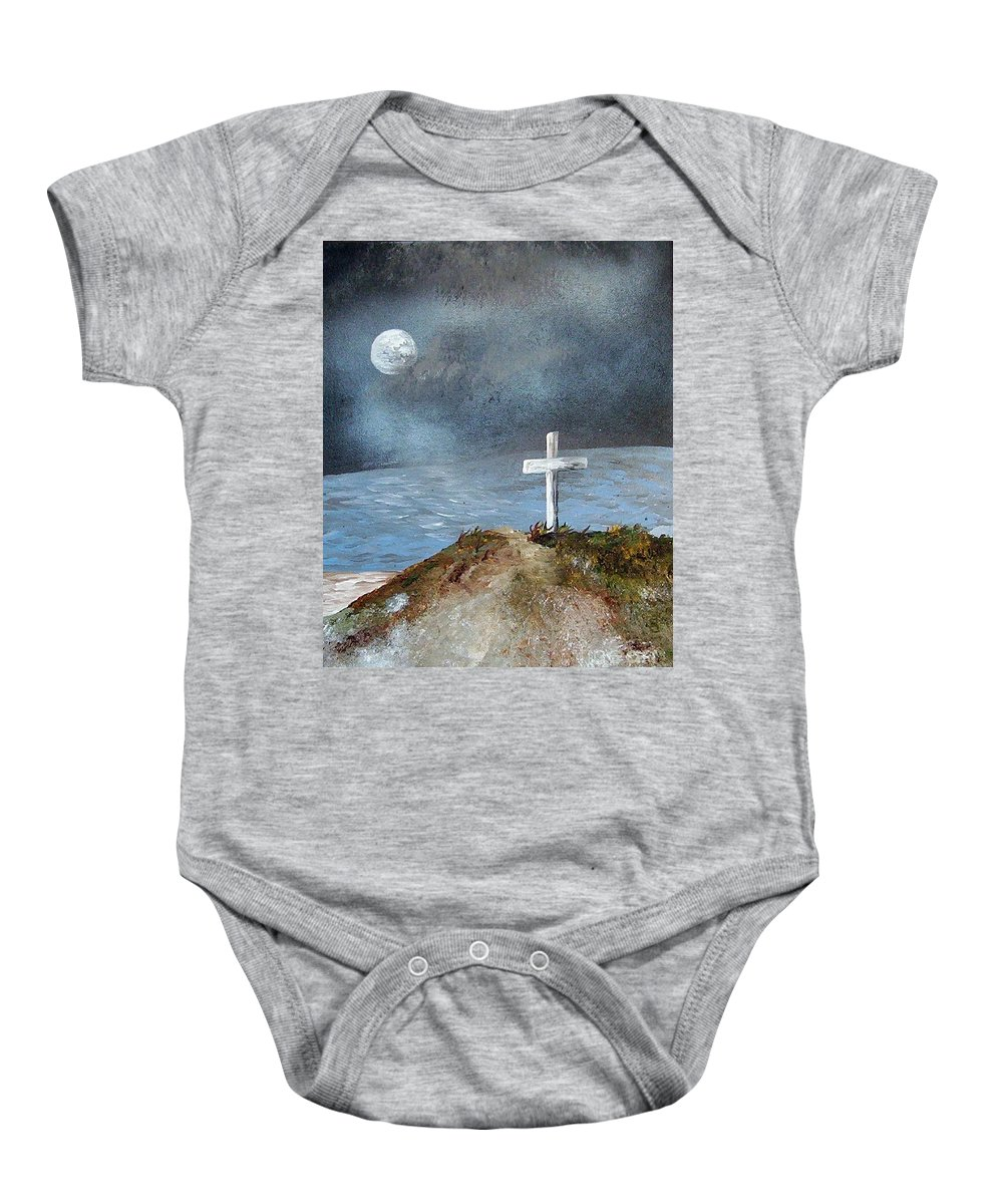 Cross Baby Onesie featuring the painting Pensacola Beach By The Light Of The Moon by Eloise Schneider Mote
