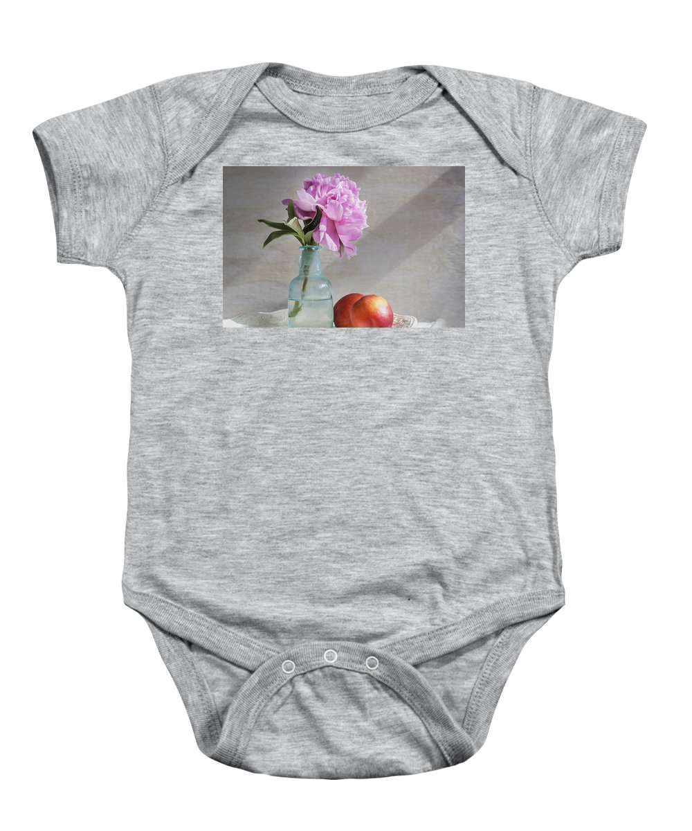 Peony Baby Onesie featuring the photograph Peony Blue Bottle And Nectarine by Rich Franco