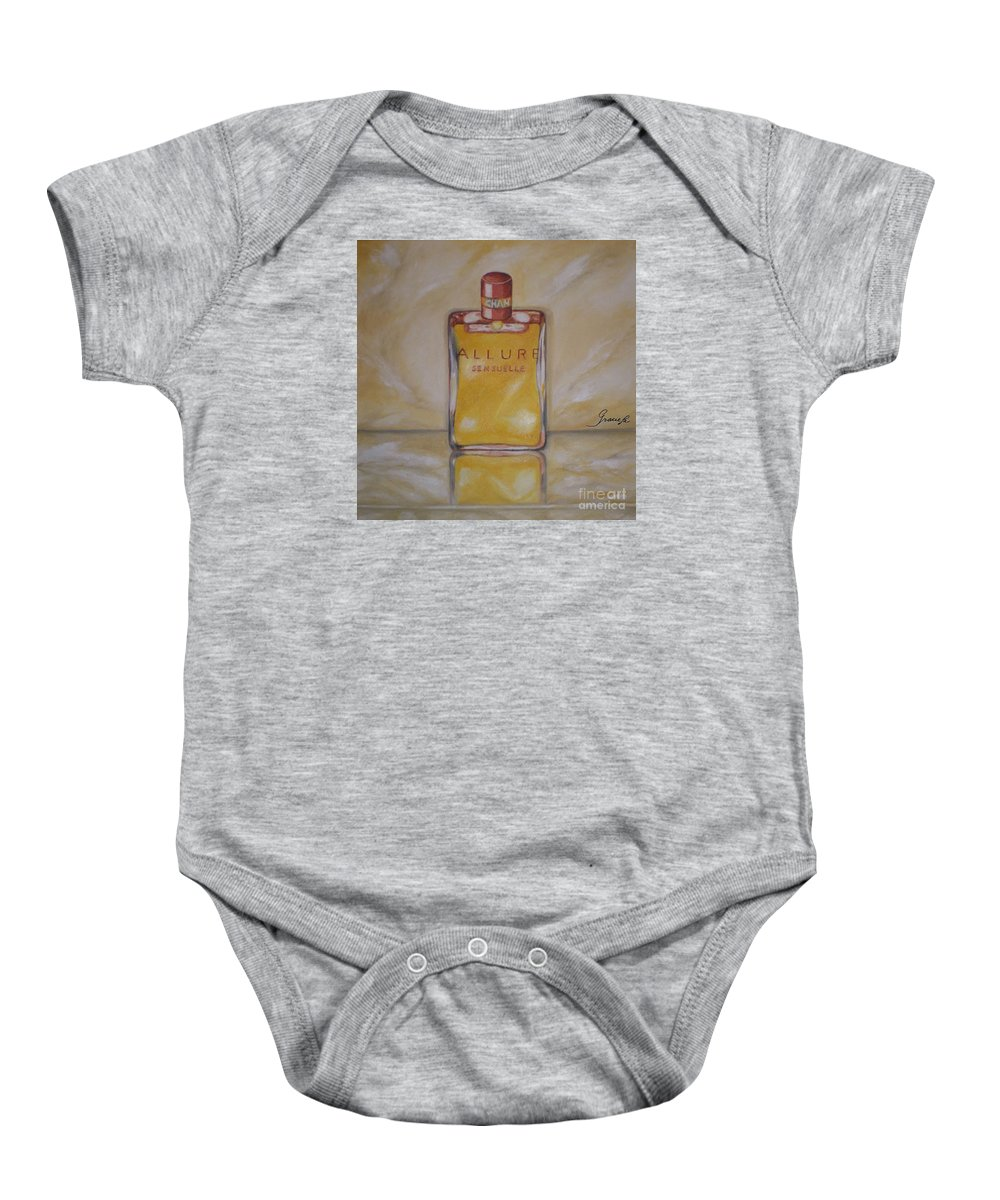 Chanel Baby Onesie featuring the painting Perfume-allure by Graciela Castro