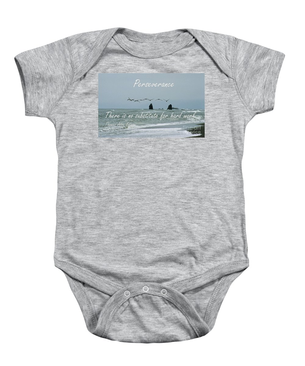 Perseverance Baby Onesie featuring the photograph Perseverance by Sharon Elliott