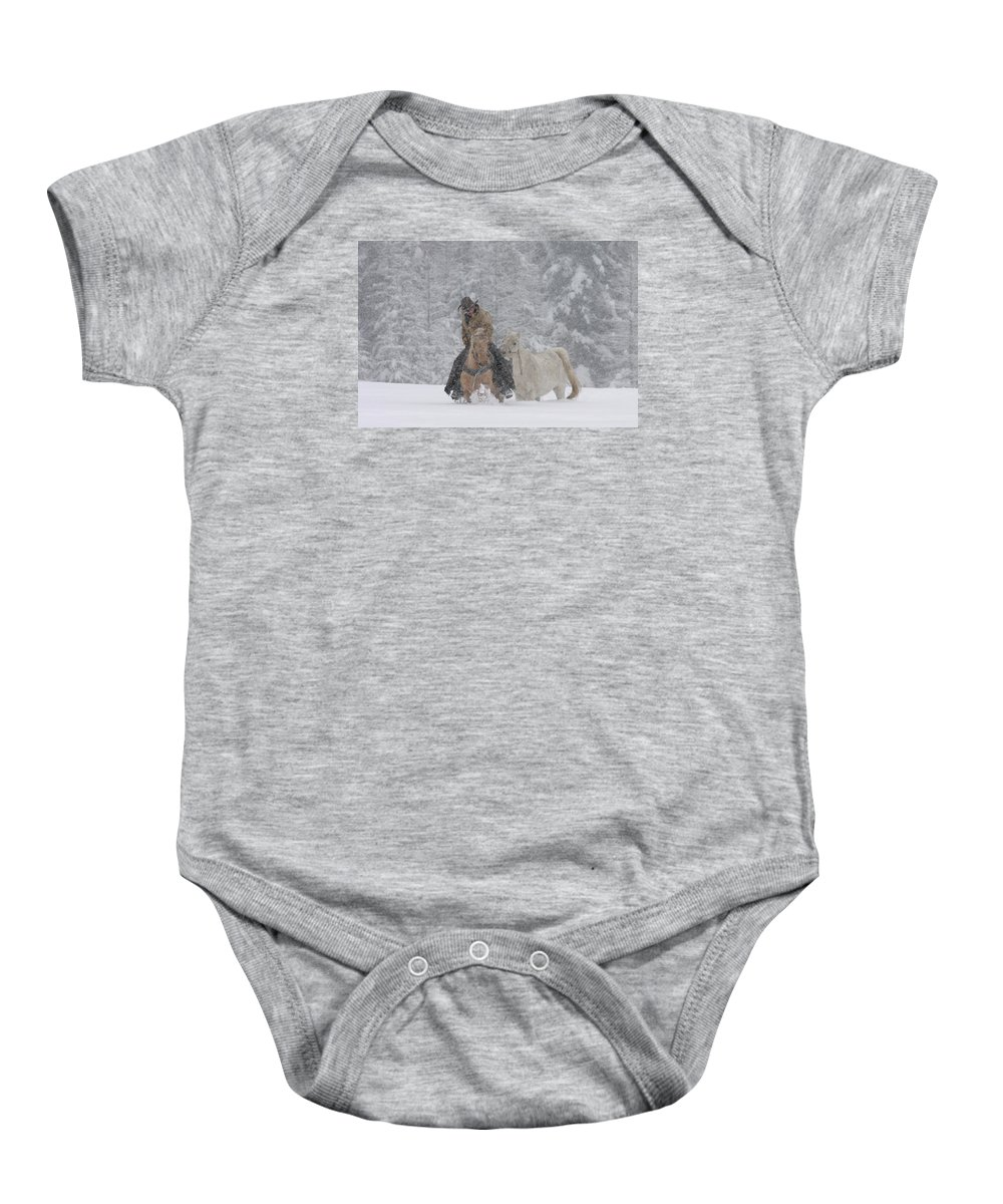 Cowboy Baby Onesie featuring the photograph Persevere Through All by Diane Bohna