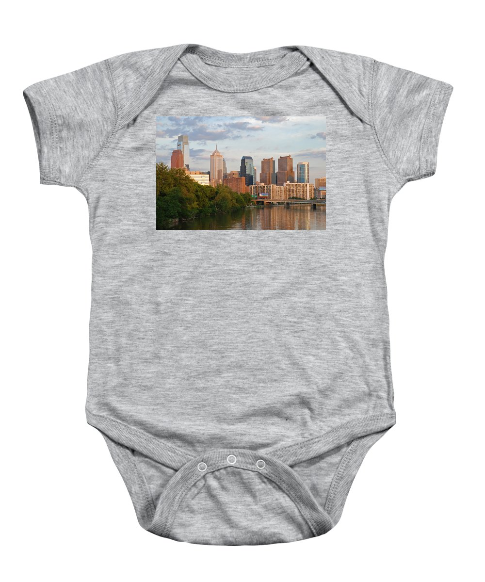 Philadelphia Baby Onesie featuring the photograph Philly Summer Skyline by Jennifer Ancker