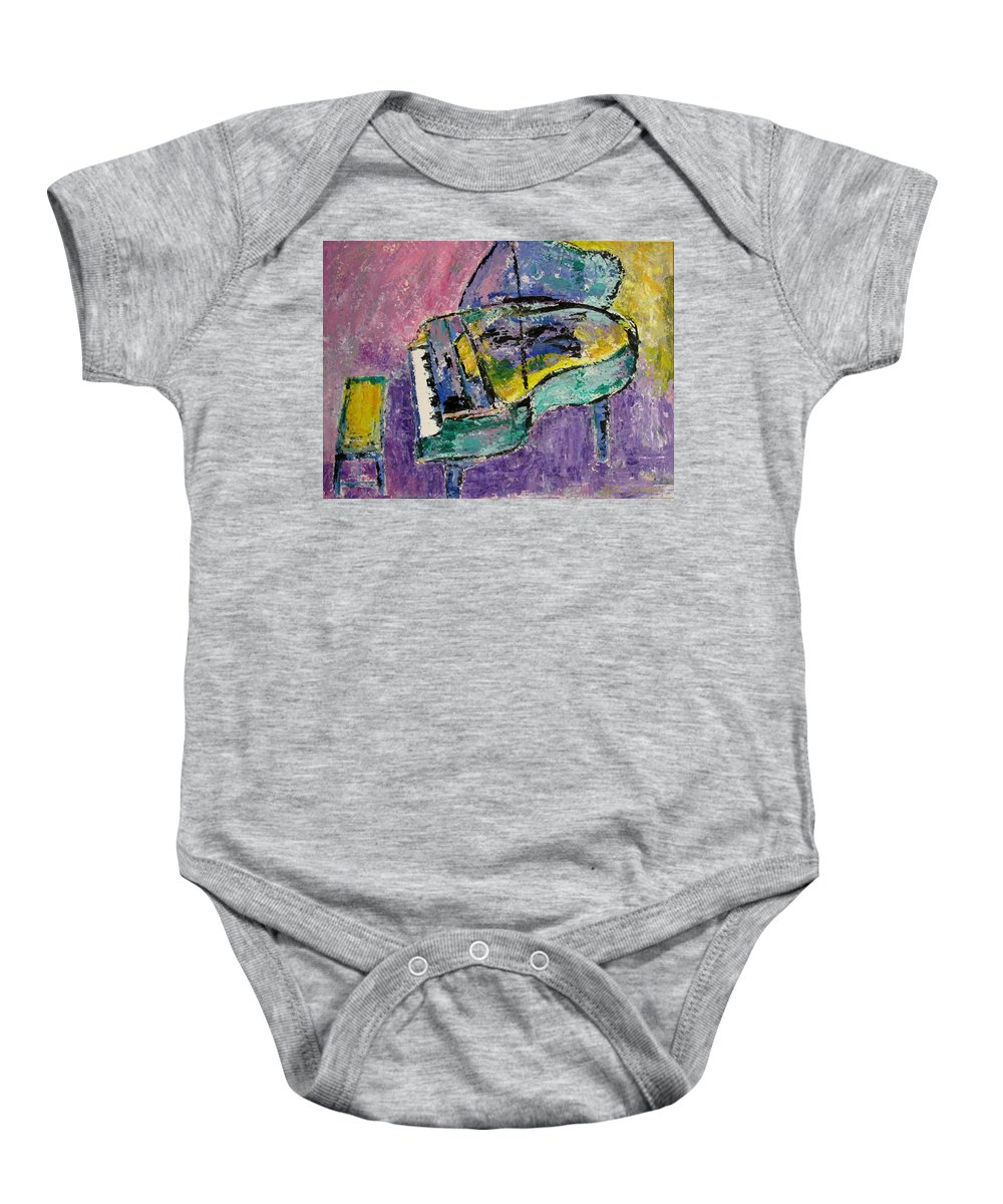 Impressionist Baby Onesie featuring the painting Piano Green by Anita Burgermeister