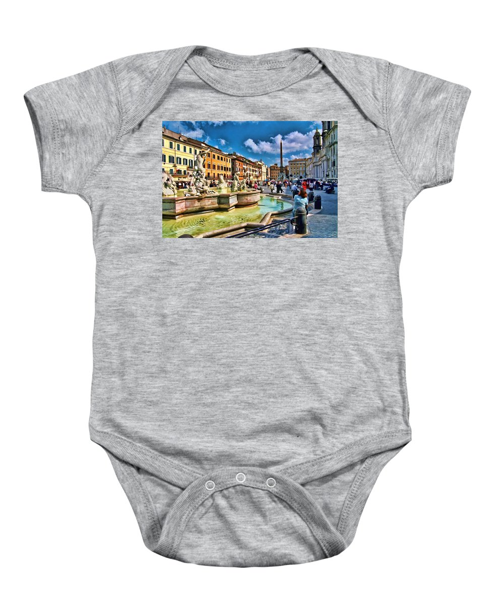 Rome Baby Onesie featuring the photograph Piazza Navona - Rome by Allen Beatty