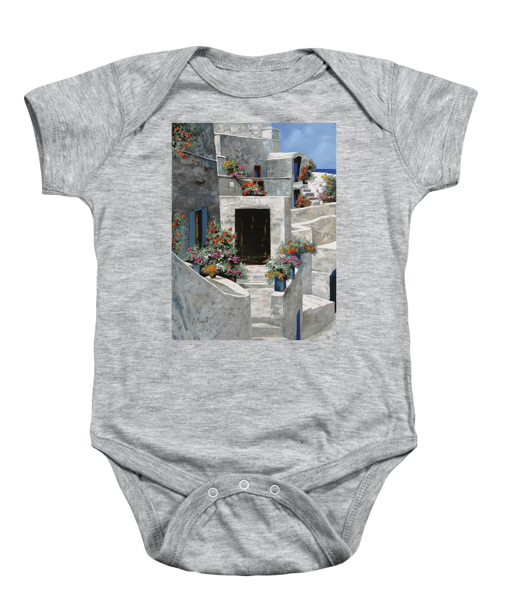 Landscape Baby Onesie featuring the painting piccole case bianche di Grecia by Guido Borelli