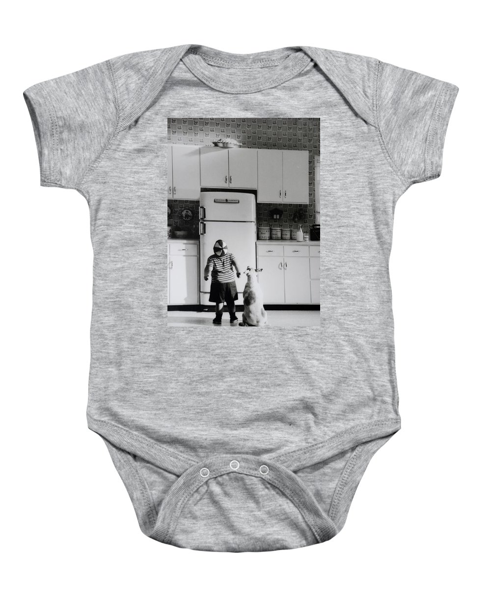 Pie Baby Onesie featuring the photograph PIE IN THE SKY in BLACK AND WHITE by Rob Hans