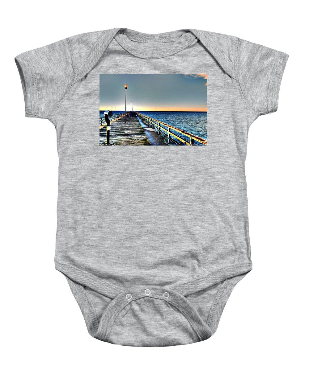 Pier Baby Onesie featuring the photograph Pier - Chesapeake Bay Bridge #1 by Srinivasan Venkatarajan