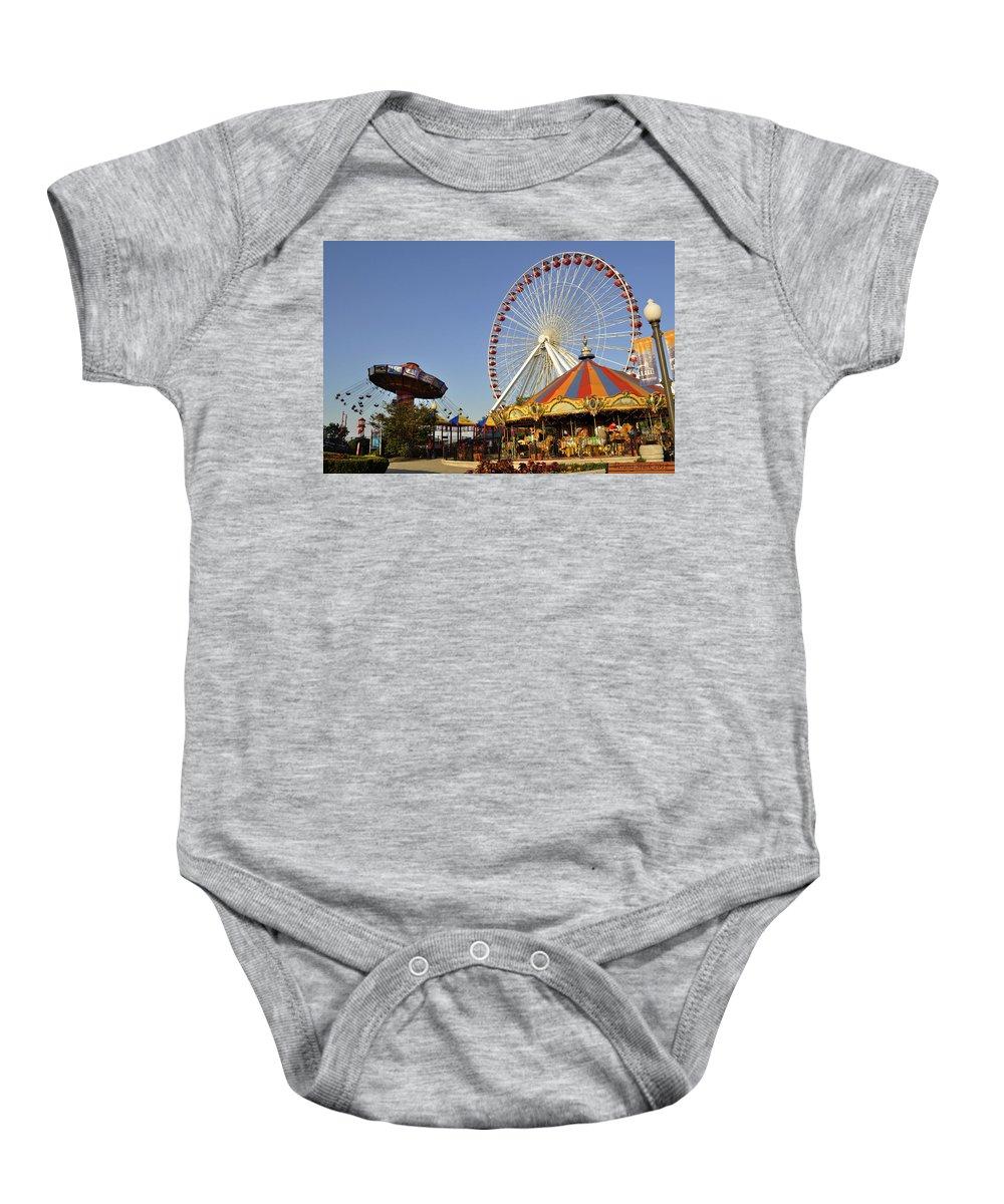 Navy Pier Baby Onesie featuring the photograph Pier Park by Verana Stark
