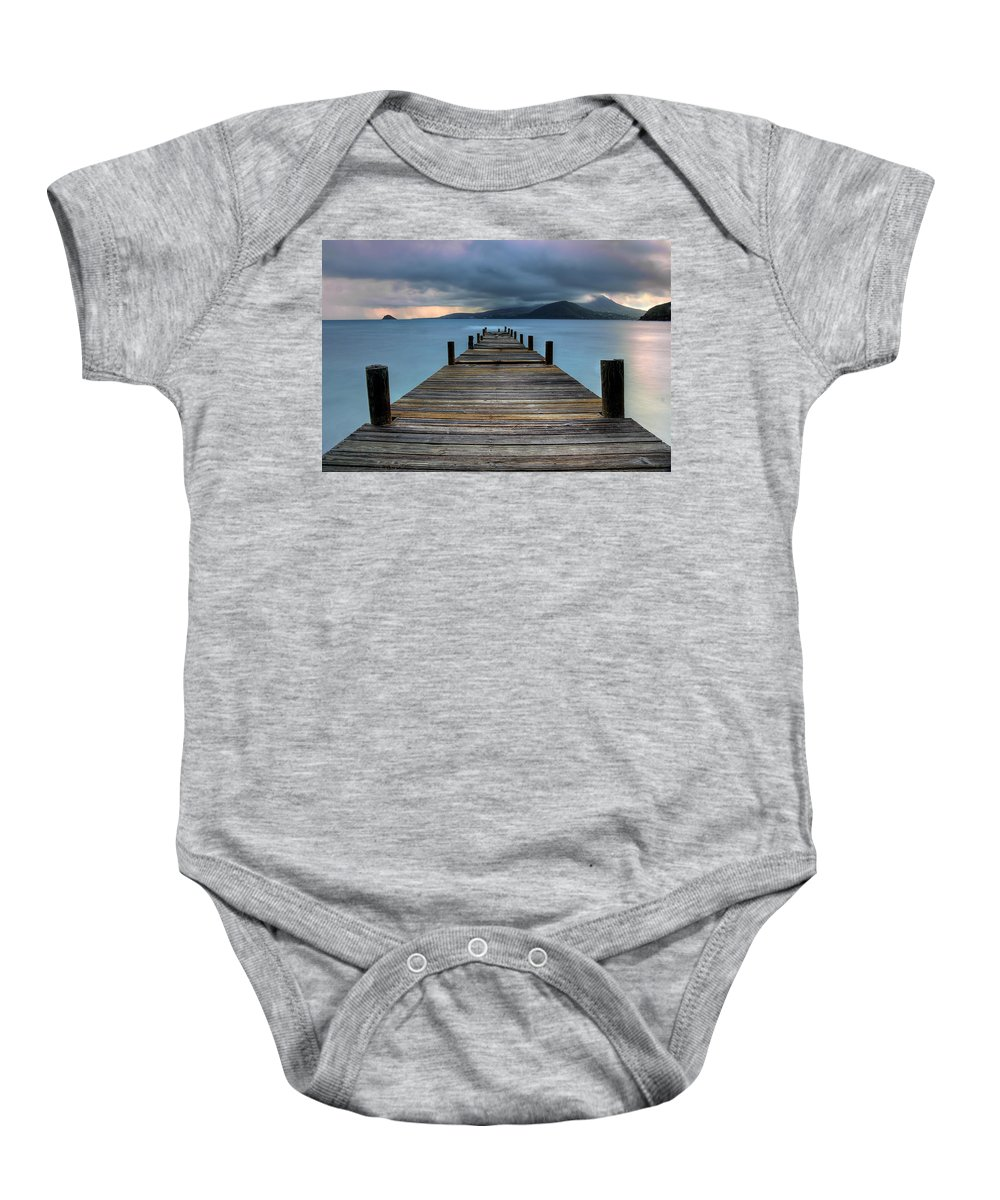 St Kitts Baby Onesie featuring the photograph Piering Rain by Ryan Smith