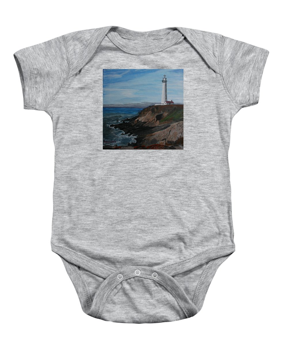 Ocean Baby Onesie featuring the painting Pigeon Lighthouse Daytime Titrad by Ian Donley