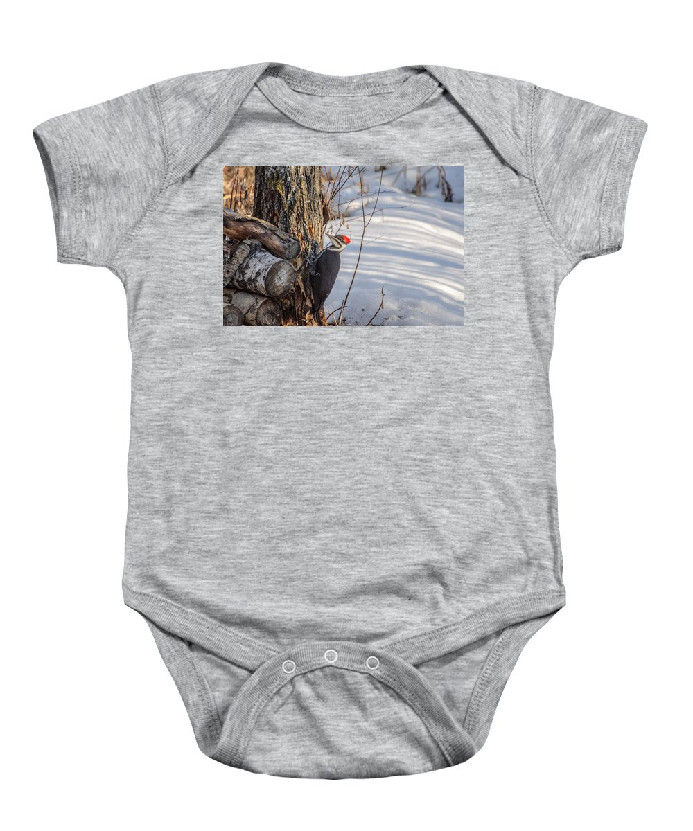 Pileated Woodpecker Baby Onesie featuring the photograph Pileated Woodpecker Winter by Roxy Hurtubise